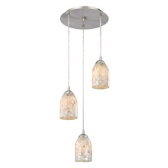 Design Classics Lighting Multi-Light Pendant Light with Mosaic Glass Glass and 3-Lights 583-09 GL1026D
