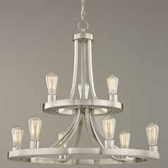 Industrial Chandelier Satin Nickel 9-lights