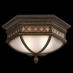 Fine Art Lamps Chateau Outdoor Umber Patina with Gold Accents Close To Ceiling Light
