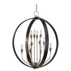 Mid-Century Modern Orb Chandelier Bronze 12-Lt by Hudson Valley