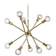 Mid-Century Modern Cluster Chandelier Brass 10-Lt by Kichler Lighting