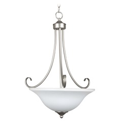 Craftmade Lighting Raleigh Satin Nickel Pendant Light with Bowl / Dome Shade