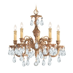 Crystal Mini-Chandelier in Olde Brass Finish