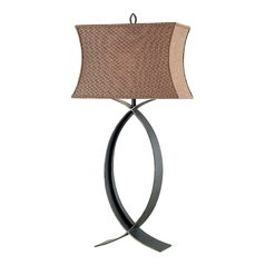 Table Lamp with Brown Shade in Oxidized Bronze Finish