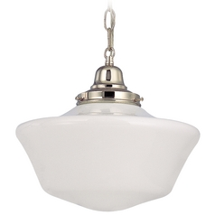 12-Inch Schoolhouse Pendant Light with Chain in Polished Nickel