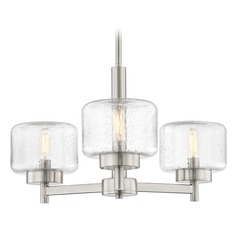 Industrial Seeded Glass Chandelier Satin Nickel 3-Lt