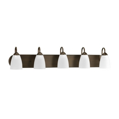 Progress Lighting Progress Bathroom Light with White Glass in Antique Bronze Finish P2713-20