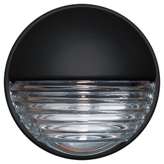 Ribbed Glass Outdoor Wall Light Black Costaluz by Besa Lighting