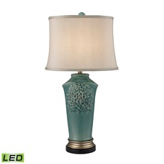 Dimond Lighting Medium Seafoam Glaze, Gold, Bronze LED Table Lamp with Oval Shade