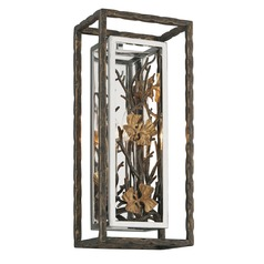 Troy Lighting Chrysalis Cottage Bronze with Polished Stainless and Gold Leaf Sconce