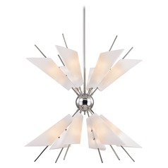 Mid-Century Modern Polished Nickel LED Chandelier by Hudson Valley