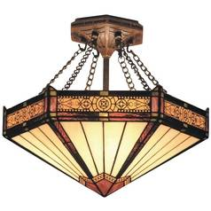 Semi-Flushmount Light with Tiffany Glass in Aged Bronze Finish