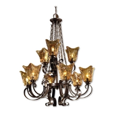 Uttermost 2-Tier 9-Light Chandelier with Amber Glass in Oil Rubbed Bronze