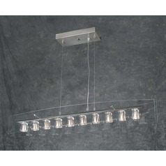 Modern Pendant Light with Clear Glass in Satin Nickel Finish