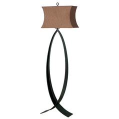 Floor Lamp with Brown Shade in Oxidized Bronze Finish