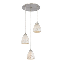 Design Classics Lighting Multi-Light Pendant Light with Mosaic Glass Glass and 3-Lights 583-09 GL1026MB