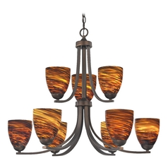 Modern Chandelier with Brown Art Glass in Neuvelle Bronze Finish