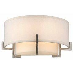 Avila Satin Nickel Wall Sconce with White Glass and White Linen Shade