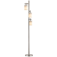 Satin Nickel SODO Floor Lamp with Satin White Cylindrical Shade