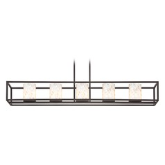 5-Light Mosaic Glass Linear Chandelier in Bronze