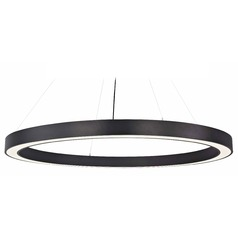 Modern Oversized LED Drum Pendant Light in Black 3000K 12220 Lumens