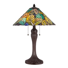 Table Lamp with Multi-Color Glass in Russet Finish