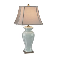 Dimond Lighting Celadon, Antique Brass Table Lamp with Cut Corner Shade