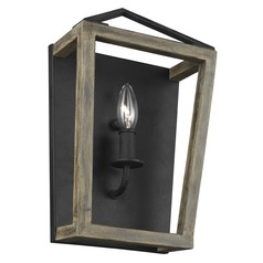 Feiss Lighting Gannet Weathered Oak Wood / Antique Forged Iron Sconce