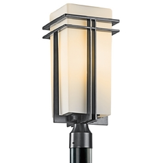 Kichler Post Light with White Glass in Black Finish