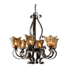 Uttermost 6-Light Chandelier with Amber Glass in Oil Rubbed Bronze