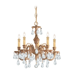 Crystorama Lighting Crystal Mini-Chandelier in Olde Brass Finish 2905-OB-CL-SAQ