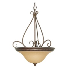 Pendant Light with Beige / Cream Glass in Sonoma Bronze Finish