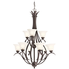 Kichler Lighting Kichler Chandelier with White Glass in Tannery Bronze Finish 10420TZ