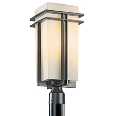 Kichler Post Light with Beige / Cream Glass in Black Finish