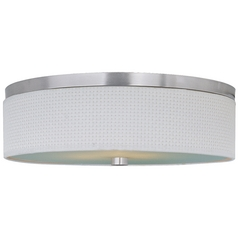 Modern Flushmount Light with White Shades in Satin Nickel Finish