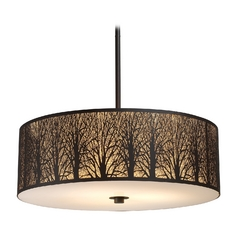Drum Pendant Light with Amber Glass in Aged Bronze Finish