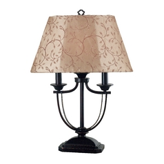 Table Lamp with Taupe Shade in Oil Rubbed Bronze Finish