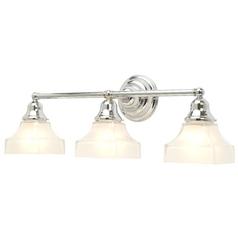 Craftsman Style 3-Light Bathroom Light Chrome with Square Glass