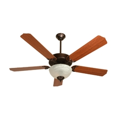 Craftmade 52-Inch Ceiling Fan in Oiled Bronze with Energy Savings Alabaster Light Kit