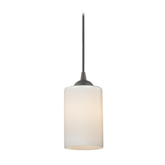 Design Classics Lighting Mini-Pendant Light with Opal White Cylinder Glass in Bronze Finish 582-220 GL1024C