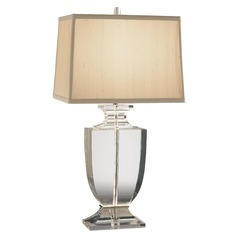 Robert Abbey Artemis Clear Lead Crystal W/ Silver Plate Accents Table Lamp with Rectangle Shade