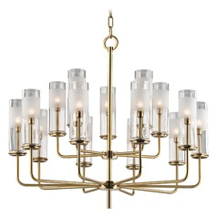 Wentworth 15 Light 2-Tier Chandelier - Aged Brass