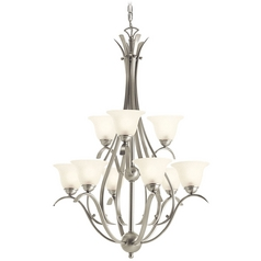 Kichler Lighting Kichler Chandelier with White Glass in Brushed Nickel Finish 10420NI