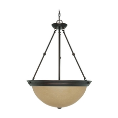 Pendant Light with Beige / Cream Glass in Mahogany Bronze Finish