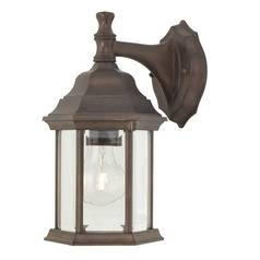 Outdoor Wall Light with Six-Sided Glass Shade