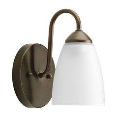 Progress Lighting Progress Sconce Wall Light with White Glass in Antique Bronze Finish P2706-20EBWB