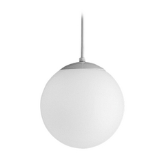 Progress Mini-Pendant Light with White Globe - 10-Inches Wide