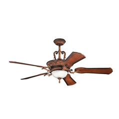 Kichler Lighting Kimberley Mediterranean Walnut Ceiling Fan with Light