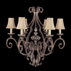 Fine Art Lamps Stile Bellagio Tortoised Leather Crackle with Stained Silver Leaf Accents Chandelier