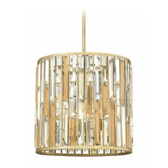 Frederick Ramond Gemma Silver Leaf Pendant Light with Cylindrical Shade